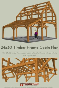 There is so much happening in this 24×30 timber frame cabin! It has an entry porch with a hammer-beam truss and extended purlins, a steeply pitched main gable flanked by a shed wing, and a cantilevered lookout over the first floor. If you are an experienced timber framer looking for a plan to be proud of and enjoy, this exciting frame may be just what you are after!