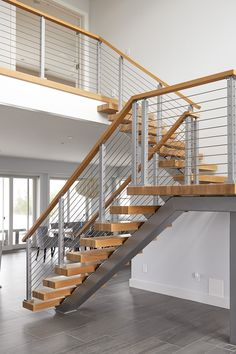 Staircase Railing Design, Interior Stair Railing, Home Stairs Design, Loft Design, House Design, Fachada Colonial, Tiny Loft, Tiny House Exterior, Modern Stairs