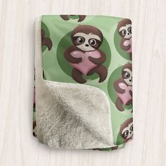 Happy Sloth Pink Heart Green Sherpa Fleece Throw