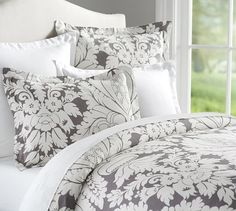 Damask Printed Duvet, Full/Queen, Gray