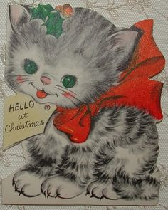 Die-Cut - Kitten w/Red Bow, Cat - 1950's Vintage HALLMARK  Christmas Greeting Card