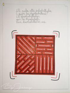 """Hoja de Trabalenguas: """"El suelo está enladrillado"""" con Ilustración. Más fotografías dando clic a la imagen. Arabic Calligraphy, Flooring, Leaves, Arabic Calligraphy Art"""