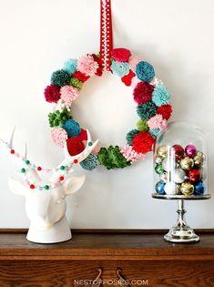 DIY pom pom and posie wreath by Nest of Posies