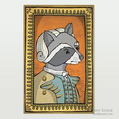 General Raccoon, aka The Fighting Bandit, Classy Critters Series - Tami Boyce Old Portraits, Wooden Dolls, Lady And Gentlemen, Antique Dolls, Beautiful Dolls, Doodles, My Arts, Classy, Stamp