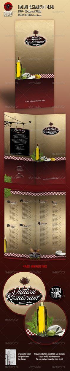 free italian restaurant menu template design freebies