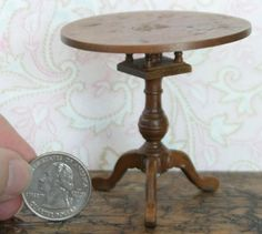 vintage dollhouse furniture: Chippendale flip-top tea table