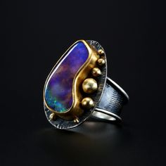 Boulder Opal Ring. Fabricated Sterling Silver, 18k and 22k Gold. www.amybuettner.com https://www.facebook.com/pages/Metalsmiths-Amy-Buettner-Tucker-Glasow/101876779907812?ref=hl https://www.etsy.com/people/amybuettner http://instagram.com/amybuettnertuckerglasow