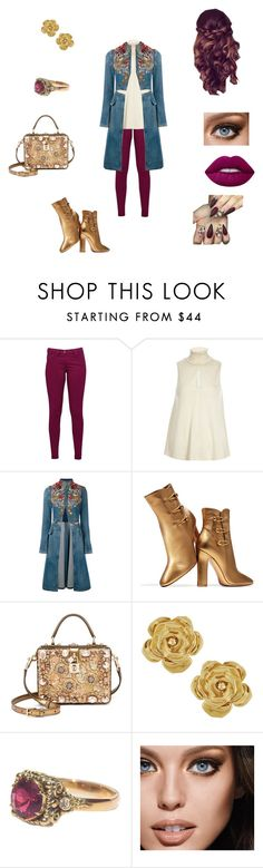 """Golden Girl"" by azariel-r ❤ liked on Polyvore featuring Great Plains, River Island, Alexander McQueen, Gianvito Rossi, Dolce&Gabbana, Vintage, Maybelline and Lime Crime"