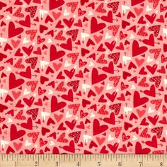 Moda Kiss Kiss Hearts Galore Blush from @fabricdotcom  Designed by Abi Hall for Moda, this cotton print is perfect for quilting, apparel and home decor accents. Colors include pink, red, and white.