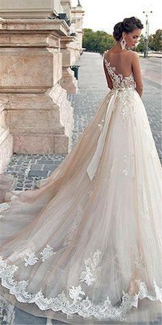 62087a8a613 Illusion Neckline Lace Pearls Sexy Back 2016 Modest Plus Size Bridal Gowns  Vintage Mila Nova Champagne Princess Wedding Dresses