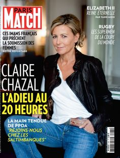 For twenty-four years, Claire Chazal presented the newspapers of the weekend. His ouster has upset t 60 Fashion, Over 50 Womens Fashion, Fashion Over 50, Fashion Tips For Women, French Fashion, Pantalon Bleu Marine, Stylish Older Women, French Women Style, European Style