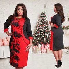 Mv Vestido Round Neck 3/4 Sleeves Splicing Print Dress-Rojo(QC)