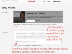 Verifying your Wordpress Blog on Pinterest