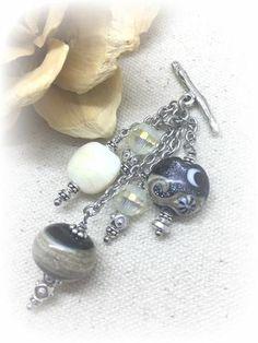 ** Interchangeable Handmade Lampwork Glass Beaded Dangle  Necklace #1017D @beaddangledesign