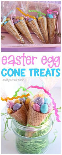 These edible easter egg cone treats are adorable!! Cute little easter gift idea for the kids. Hide in their easter egg basket! #giftbaskets