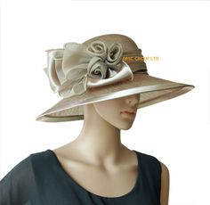Taupe beige BLACK wide brim Formal church sinamay hat for Kentucky derby,wedding party races