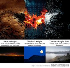 The colors of the Dark Knight movies represent night cycles…
