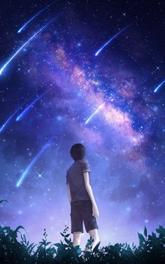 Desktop Wallpaper starry sky silhouette art night starfall meteors hd for pc & mac, laptop, tablet, mobile phone Anime Backgrounds Wallpapers, Anime Scenery Wallpaper, Wallpaper Space, Anime Artwork, Iphone Wallpaper, Sky Anime, Anime City, Night Sky Wallpaper, Anime Places