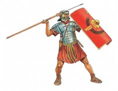 A legionary throwing a pilum, or javelin