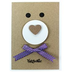 Vekkuli nallekortti on hauska, mutta helppo toteuttaa. Boy Cards, Kids Cards, Cute Cards, Tarjetas Diy, Punch Art Cards, Handmade Card Making, Kids Birthday Cards, Animal Cards, Valentine Day Cards