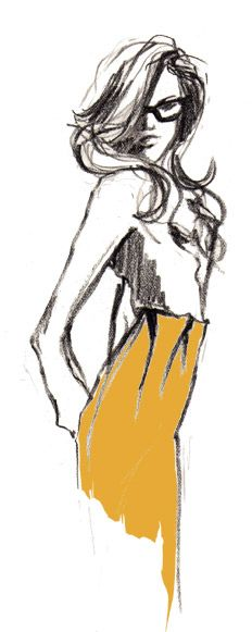 Fashion illustration in yellow and grey