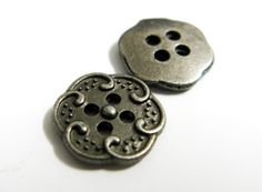 Metal Buttons - Spiral Flower Metal Buttons , Gunmetal Color , 4 Holes , 0.43 inch , 10 pcs