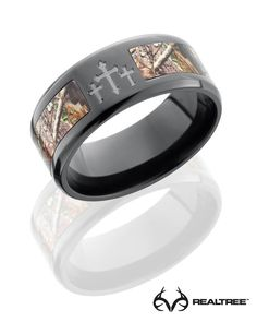 #NEW Realtree Xtra Camo Crosses Black Zirconium Ring  #realtreextra #camoring