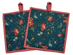 Floral Blue and Coral Quilted Potholders, Set of two Potholders, Blue and Coral Hot pad, Floral Trivet, BBQ accessory, Quiltsy Handmade by LawsonCreations on Etsy