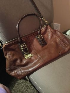 c1369339cba Coach Carriage Collectionleather tote with gold hardware and keychains   fashion  clothing  shoes
