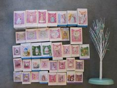 Lot of 37 Hallmark Easter Ornaments and Easter Tree