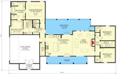 1991 sq feet Exclusive Modern Farmhouse with Split Beds and Ample Outdoor Living Space - floor plan - Main Level Ranch House Plans, Country House Plans, New House Plans, Dream House Plans, House Floor Plans, Architectural Design House Plans, Architecture Design, Plan Autocad, Modern Farmhouse Plans