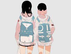 Beautiful art by Aesthetic Drawing, Aesthetic Art, Aesthetic Anime, Friend Anime, Anime Best Friends, Anime Art Girl, Manga Girl, Pretty Art, Cute Art