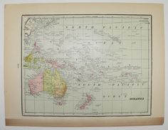 Antique Oceanica Polynesia Map Vintage 1898 South Pacific Islands South Africa Map Unique Gifts Under 20 Black Friday Sale Cyber Monday Sale by OldMapsandPrints