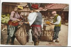 )people on the market 1910 Photo Postcards, Vintage Postcards, Vintage Photos, Turkish Style, Turkish Fashion, Sarajevo Bosnia, Istanbul, Ethnic, Fantasy