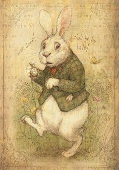 White Rabbit by Petra Brown      http://petrasgalleryblog.blogspot.com/2010/05/white-rabbit-new-print.html