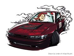 ozizo art show Weird Cars, Cool Cars, S13 Silvia, Jdm Wallpaper, Car Illustration, Japan Cars, Car Drawings, Artwork Design, Art Cars