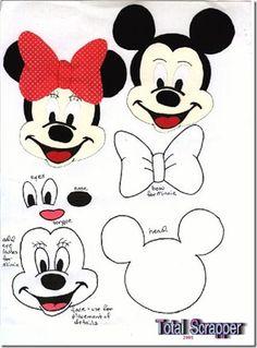 Cabeza de Mickey y Minnie Mouse moldes para fieltro o foam | Busco ...