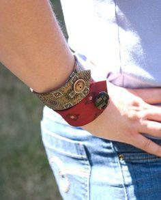 Necktie cuff bracelets - tutorial