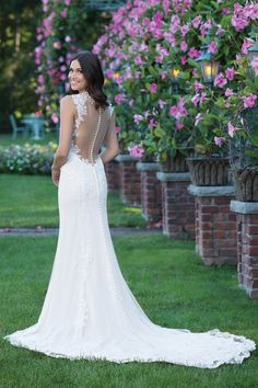 Sincerity Bridal Plunging V-Neck Gown with Lace Appliqué Open Back
