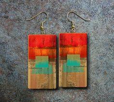 Abstract art polymer clay earrings by adrianaallenllc on Etsy, $10.00