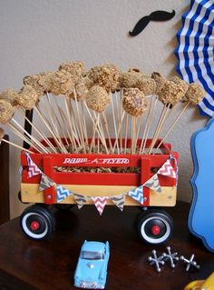 S'mores pops; vintage toy 1st birthday party