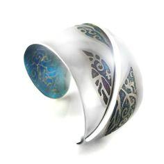 "Cuff | Jubiko designs.  ""Winter Morning"".  Titanium, patina and sterling silver"