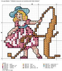 alfabeto maiuscolo con bambina stile Holly Hobbies A