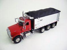 Peterbilt 357 Rigid with East Genesis Diecast Dump Truck in Red SWORD 2042-R 1/50