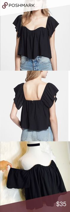 """Re:Named Off Shoulder Crop Top A swingy cropped top gets its volume from a deftly gathered neckline and sleeves that can be worn on or off the shoulders. 11 1/2"""" center front length (size Medium). Back zip closure. Lined, with built-in bralette. 100% rayon. Hand wash cold, line dry. By re:named: imported. RE:NAMED  Tops Crop Tops"""
