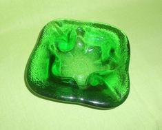 Mid Century Blenko Green Art Glass Ashtray Retro Heavy Glass