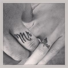 Husband and wife ring finger tattoos! I Love this! It would work with what he Already has.