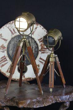 Rustic Hand Made Tripod Nautical Spot Light Table Lamps Bedside Tripod Lamp