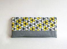 Long zipper pouch. Passport holder / travel organizer, generous sized pencil case. Handmade by SiamSquare #modern #geometric #yellow #gray