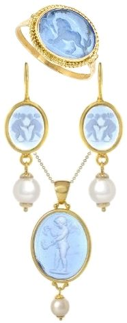 Tagliamont blue Venetian glass intaglio set of earrings, pendant & ring set in gold, accented with pearls